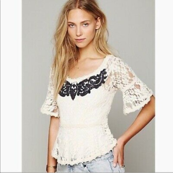 Free People Tops - Free People Cream Lace Black Appliqué Top